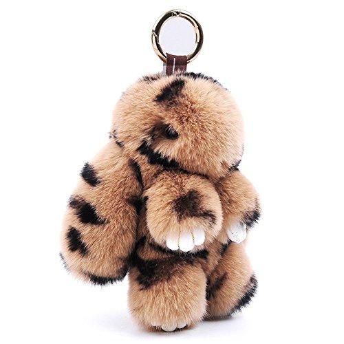 13CM Flaumig Hase Schlüsselanhänger Niedlich Natur Pelz Hase Puppe Schlüsselbund Dekor zum Damen Handtasche Auto Anhänger Geschenk 80Store (Leopard) (Leopard-pelz)