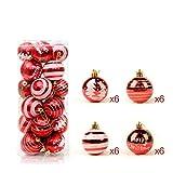 24 Stück Weihnachtskugeln Glänzend Glitzernd Matt Christbaumkugeln Weihnachten Baumschmuck Rot
