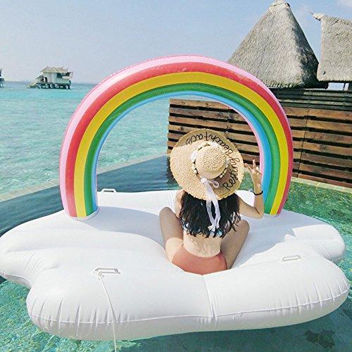 AJOG 94 Inch Riesige Aufblasbare Regenbogen Wolke Pool Float Sommer Fahrt Auf Schwimmring Erwachsene Wasser Party Spielzeug 240 Cm