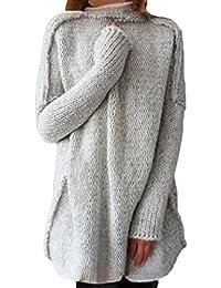 ShallGood Femme Automne Hiver Long Tops À Manches Longues Col Haut Casual  Élégant Mini Robe Pulls 1ba886fbd0fc