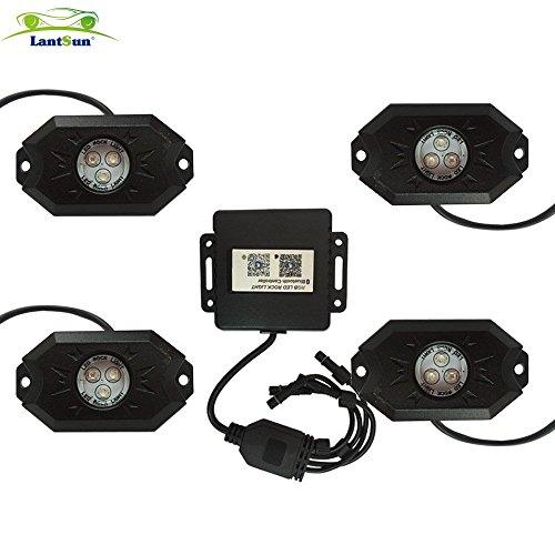 Lantsun LED Luce Rock RGB Bluetooth Controllo Lamapadina Luminosa LED per Feste Discoteca Concerto Fuoristrada Camion Carro Jeep SUV ATV Barca( 4 Pezzi ) KJ140