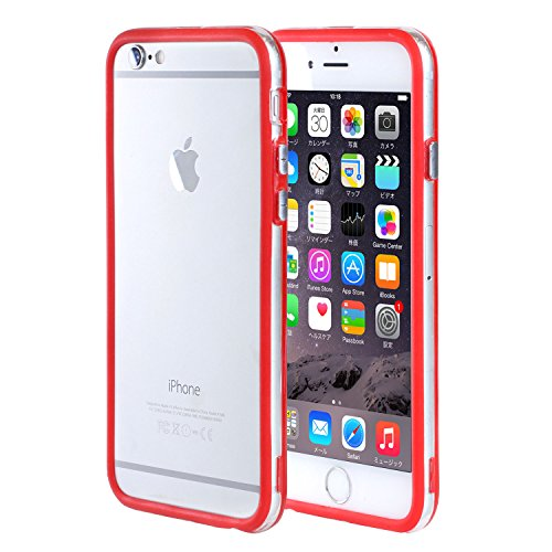 Hybrid Colored Clear Bumper Case for iPhone 6 / iPhone 6s (Red) Red