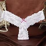 LIUXINDA-NK Lady Victoria Secret Sexy Unterwäsche Spitze panty Taille Elastic transparent Sweet String Versuchung T 3Elemente, weiß