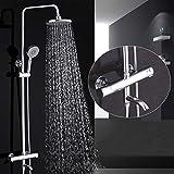 Duschsystem - Volles Kupfer mit Wasser-Ausgang Thermostatisches Kontrollbad-Set, an der Wand befestigter Niederschlag-Duschkopf, justierbare Duschhalterung für optimale Entspannung und Badekurort