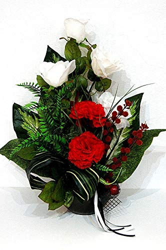 tatjana-land-deko Grabgesteck Grabschmuck Totensonntag Gesteck Allerheiligen Gedenken Rose BR10-07