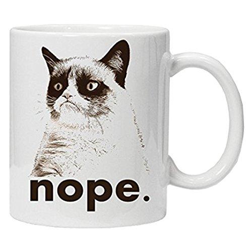 zmvise Funny Neuheit für die Arbeit, nope, Grumpy Cat Fashion Zitate weiß Keramik Tasse Perfect Christmas Halloween Gfit