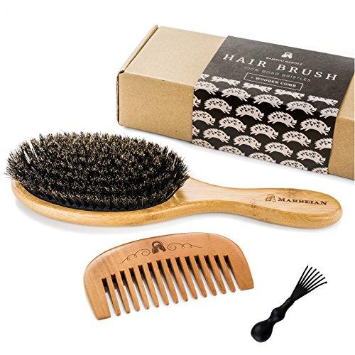 Brosse à Cheveux en Polls de Sanglier Pour un Traitement Naturel des Cheveux, Peigne en Bois Pour le Démêlage des Cheveux. L'ensemble Rend les Cheveux Brillants et Soyeux.