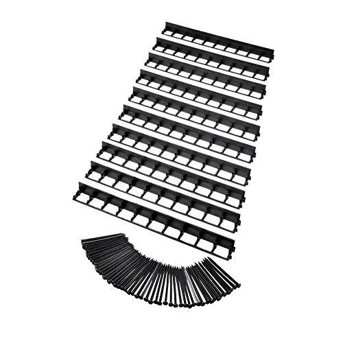 acerto 30365-10 STK Elastische Rasenkante aus Kunststoff, schwarz, 100 cm - Universelle Beetbegrenzung, Beeteinfassung für den Garten - Elastischen Kunststoff