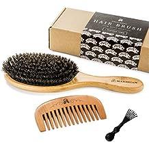 Cepillo de cerdas de pelo de jabalí, para conseguir un acondicionamiento natural del pelo,