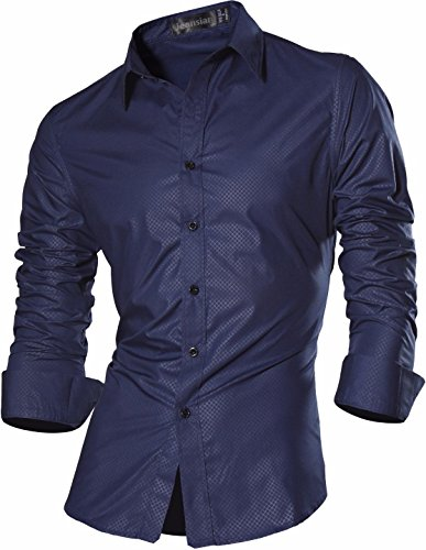 jeansian Herren Freizeit Hemden Shirt Tops Mode Langarmlig Men's Casual Dress Slim Fit Z029 Z029_Navy