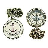 linoows Englischer Taschenuhren Kompass mit Anker Gravur und Kette, Messing
