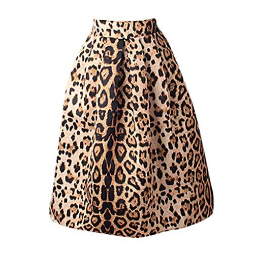 Longzjhd Damen Röcke A-Linie Rock Leopard Sommerrock Rockabilly A-Linie Skirt Rock Swing Röcke Mädchen Strandkleider Cocktailkleid Rock Boho Lang Swing Rock