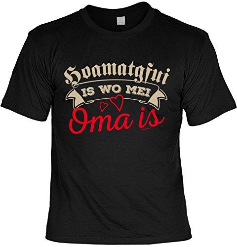 Familien/Oma/Sprüche/Spaß-Shirt/Fun-Shirt: Hoamatgfui is wo mei Oma is für bayrische Omis Schwarz