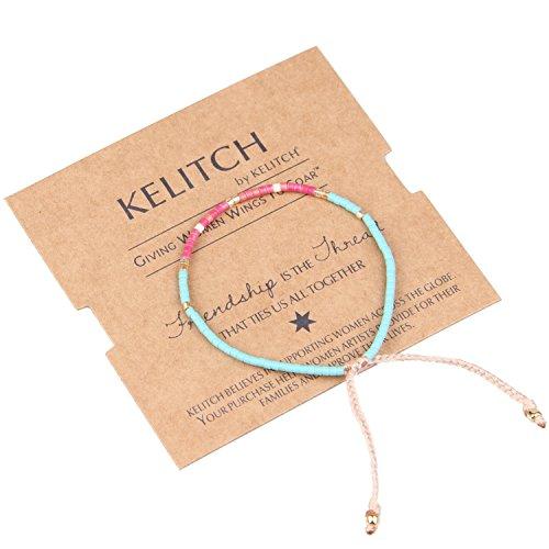 KELITCH Armband MischFarbe Rocailles Perlen Zart Schnur Freundschaftsarmbänder für Mädchen Damen - #01