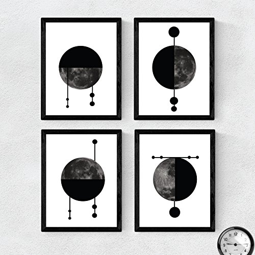 Nacnic Set de 4 láminas para enmarcar Cuatro Lunas Posters Estilo nórdico para la Tamaño A4. Láminas con imágenes de Lunas en Estilo escandinavo...