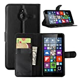 Tasche für Nokia Microsoft Lumia 640 XL Dual-SIM Hülle, Ycloud PU Ledertasche Flip Cover Wallet Case Handyhülle mit Stand Function Credit Card Slots Bookstyle Purse Design schwarz