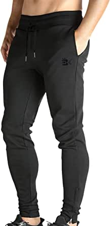 Broki Mens Zip Jogger Trousers - Casual Gym Fitness Tracksuit Bottoms Slim Fit Chinos Sweat Pants (Black)