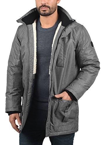 SOLID Octavus Herren Parka lange Winterjacke mit abnehmbarer Kapuze und Fellkragen aus hochwertiger Materialqualität Grey Melange (8236)