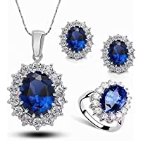 Set orecchini, collana, anello, Stayeal, da donna, principessa