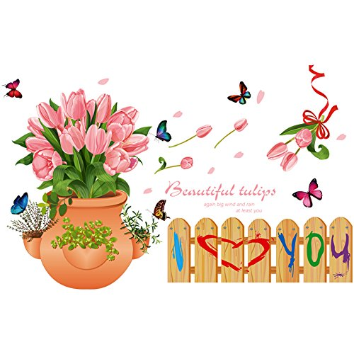 GYHTXHJPET Kreative Wand Aufkleber Mode Wandtattoos Umweltschutz Wandbild Dekoration Flugzeug Dekoratives Material Wallpaper Tulip Potted Plant Child's Zimmer Kid Park Kicks Füße Linie 85 * 49 cm