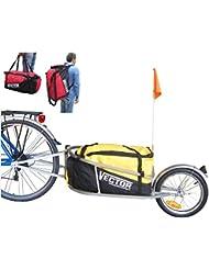 PolironeShop Vector Remorque chariot pour vélo, à une roue, avec sac à dos pour transporter du matériel, des marchandises, des courses, ou pour du cyclotourisme