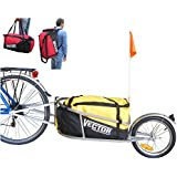 PolironeShop VECTOR remolque Eje para bicicleta bici monoruota Bolso Mochila con bolsa de transporte material gasto cicloturismo mercancía rojo