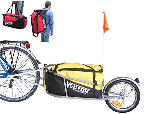 PAPILIOSHOP VECTOR Fahrradanhänger anhänger schwarz fahrrad lastenanhänger transportanhänger fahrradlastenanhänger mit tasche rot einrad trasport gepäckanhänger