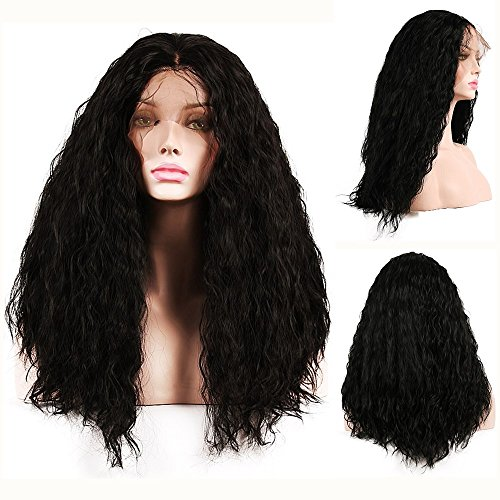 SHANDIREN Outdoor Heat Resistant High Density 18 Inches Long Curly Natural Body Wave Black Synthetic Front Lace Wigs For Beautiful (Lady Perücke First)