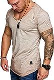 Amaci&Sons Oversize Herren Vintage T-Shirt Verwaschen V-Neck Basic V-Ausschnitt Shirt 6034 Beige M