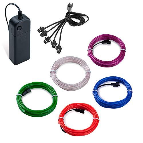 SZILBZ 5 x 1m EL Wire, Kabel Neon Seil Lichter, tragbare batteriebetriebene, flexible Neonlicht für Heimtextilien, Party, DIY, Autos, Fenster, Beleuchtung Banner Lila,Weiß,Rot,Blau,Jade - Stecker Ausgang Kostüm