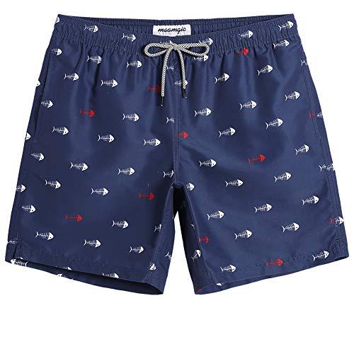 MaaMgic Short de Bains Homme Maillot de Bain Pants Court de Sport Séchage Vite Bien pour Vacance a la Plage, Navy &Blanc Possion, Medium(tour de taille:79~84cm)