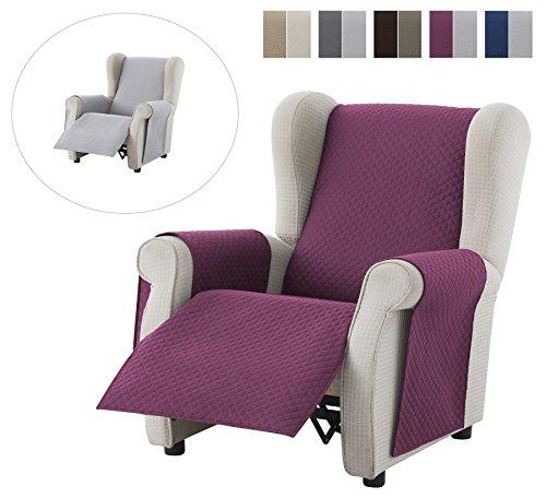 Textil-home salvadivano copripoltrona trapuntato adele - 1 posti - revesible. colore violetta