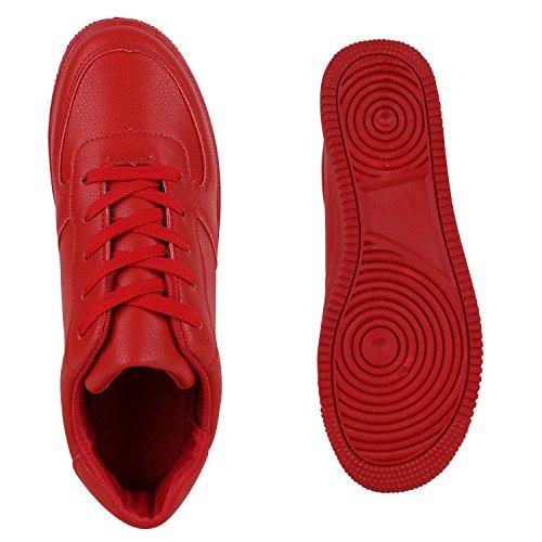 Damen Herren Basketballschuhe Sneakers Bequeme Sportschuhe Freizeit Rot Full