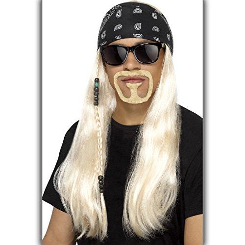 NET TOYS 90er Jahre Rockstar Kostüm Set mit Perücke, Kopftuch, Bart und Brille Hard Rocker Outfit Metal Hardrock Verkleidung