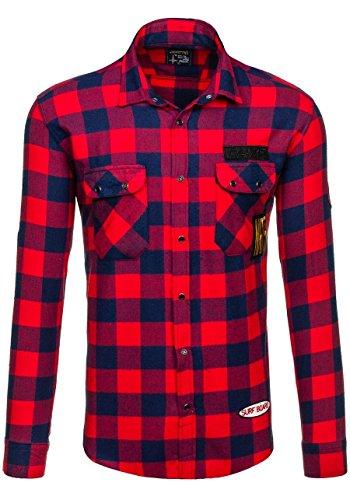 BOLF – La chemise en flanelle – avec manches longues – Slim fit – Homme 2B2 Rouge