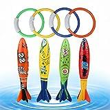 Hoovo 8PCS Toypedo Bandits Toy Subacquea Nuotare Immersione Affondamento All'aperto Anelli Giocattolo Per Bambini Del Capretto