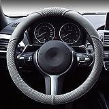 Hivel Lujo Weave Design Funda Cubierta del Volante Microfibra de Cuero Universal Antideslizante Respirable Auto Coche Car Steering Wheel Cover 38cm - Gris