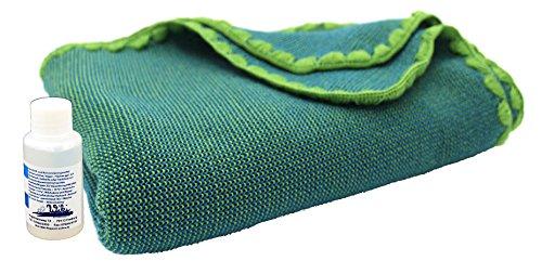 Disana Melange-Babydecke 80 x 100 cm aus Merino-Schurwolle kbT, grün/blau melange inkl. Feinwaschmittel Wiki
