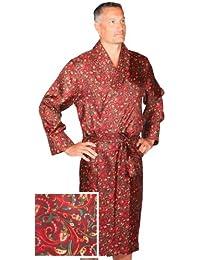 Robe de Chambre en Soie - Paisley Bourgogne / Vert / Or - Homme - Peignoir