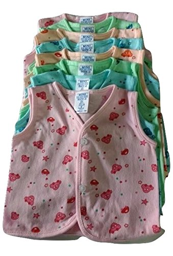Superbaby Hosiery Cotton Sleevless Zabla/Jabla With Button(6-9 Months)Pack Of 8,Multicolor