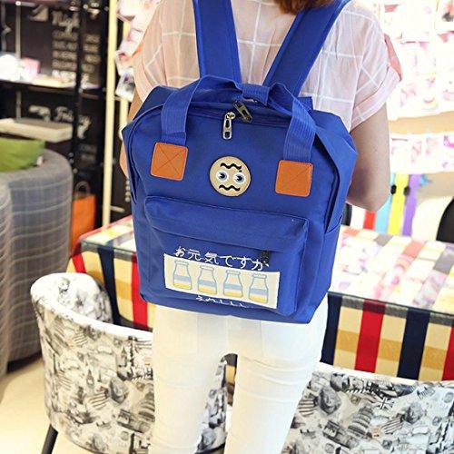 Borsa Unisex, Donne Adolescente Ragazzo Cerniera Zaino Scuola Borse Moda Spalla Borsa by Kangrunmy Profondo blu