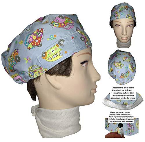Chirurgische Kappe. Kinderwagen. für kurze Haare. Frau und Mann, Chirurg, Zahnarzt, Tierarzt, Koch, etc. Handtuch auf der Stirn, verstellbarer Spanner auf der Rückseite. - Medizin Frau Kostüm