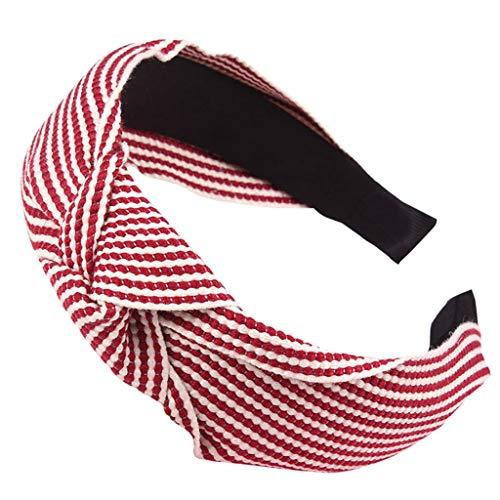 DOFENG Damen Breit Haar-Stirnband mit Bördeln Haar Kopfband Mode Knoten-Haarband Einfache SüßE MäDchen Einfach Polka Dot Elegant Sport (W-Rot, One - Mann W Gelb Hut Kostüm