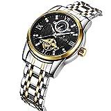 YXLONG Reloj Automático De Los Hombres Reloj De Explosión Impermeable Tourbillon Reloj Mecánico Reloj De Acero Inoxidable para Hombres,Silvershellsilverneedleblackplate