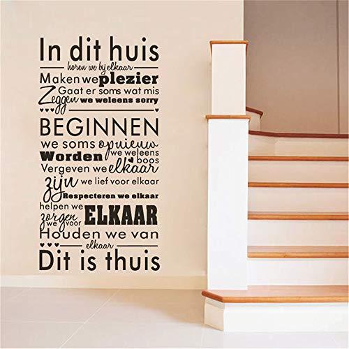 Nederlands In This House Wandaufkleber Zitate Vinyl Wandtattoo Dutch Art Aufkleber Wohnzimmer Dekoration 3 90 * 48 cm