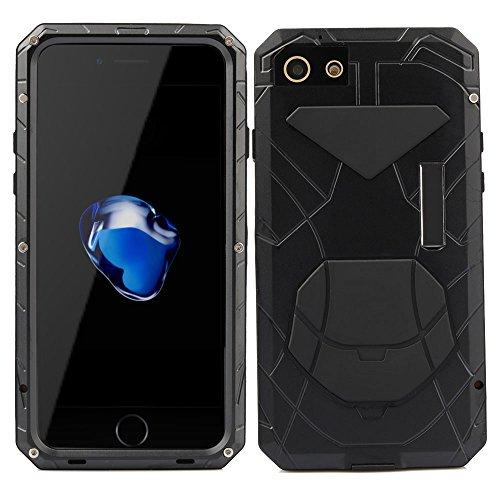 iphone 7 Hülle Feitenn Aluminum Metall Case Cover Wasserdicht Staubdicht Stoßfest Schutzhülle Handyschutz Mit Standfunktion Leicht Günstig Handyhülle Für Apple iphone 7 - Rot Schwarz