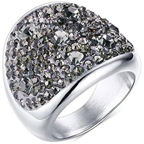 Da donna in acciaio inossidabile e zirconia cubica, a cupola, con cristalli, colore: grigio con anello di fidanzamento Promise matrimonio, Base color argento