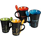 fineway @ livivo Juego de té juego de café, 4tazas con cuchara Bebida Latte Tazas Cocina de cerámica (Café Expreso