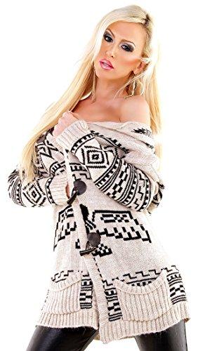 Miss Eleven - Damen Kapuzen-Strickjacke Peru - Beige - Size M - Alpaka-Mix - mit Taschen