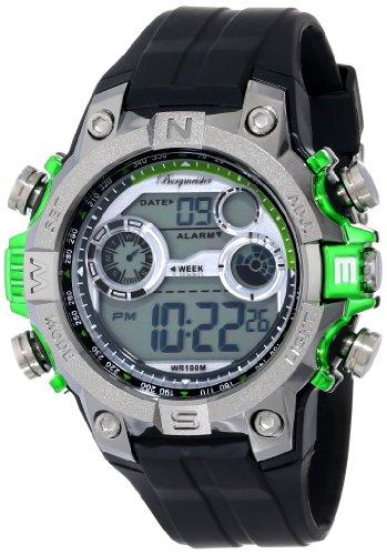 Burgmeister - BM800-112D - Montre Homme - Quartz Digitale - Alarme/Chronomètre/Eclairage - Bracelet Silicone Noir